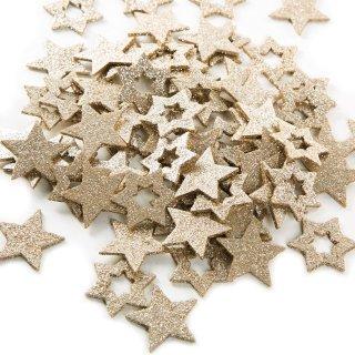 72 kleine glitzernde Sterne aus Holz - zum Basteln & Verzieren