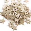 72 kleine glitzernde Sterne aus Holz - zum Basteln &...
