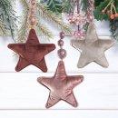 3 Samt Sterne zum Aufhängen mit Schnur und...