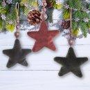 3 Sterne Weihnachtsanhänger - rot grau...