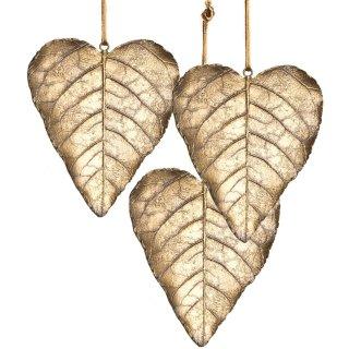 3 große Blätter zum Aufhängen - Vintage Dekoblätter in Herzform