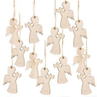 12 kleine Engel aus Holz mit Schnur zum Aufhängen - natur 6 cm