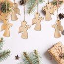 12 kleine Engel aus Holz mit Schnur zum Aufhängen -...