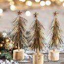 3 Weihnachtsbäume aus Metall 30 cm - antik-gold zum...