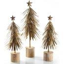 3 Vintage Bäume aus Metall - als Weihnachtsdeko stehend