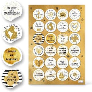 Geschenkaufkleber - gold weiß schwarz DU BIST … - 4 cm rund