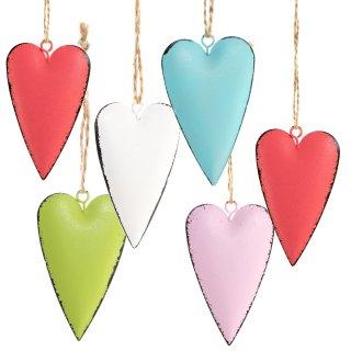 6 bunte Dekoherzen Herzanhänger - rot rosa blau grün weiß - 7 cm aus Metall
