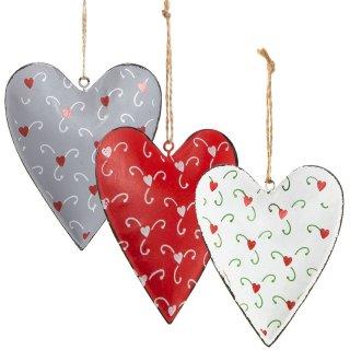 3 große Herzanhänger aus Metall grau rot weiß - 11 cm