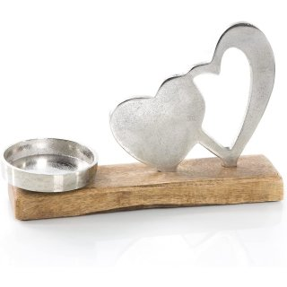 Kerzenhalter aus Metall und Holz - Herz Kerzenständer Silber braun