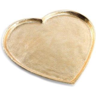 Herz Tablett aus Metall goldfarben 27 cm - als Deko & Geschenkidee