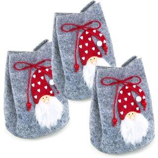 3 Filztaschen mit Nikolaus grau rot - als Verpackung für das Nikolausgeschenk