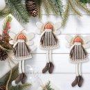 Engel Anhänger aus Stoff - 16 cm grau braun weiß - als kleines Geschenk