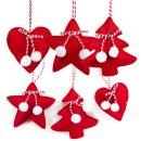 6 weihnachtliche Baumanhänger - Baum Stern Herz - rot weiß aus Stoff