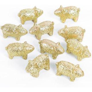 10 Mini Glücksschwein Figuren - Gold glitzernd - 2 cm aus Kunststein