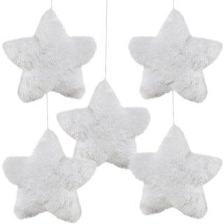 5 Stern Anhänger aus Plüsch - 14 cm weiß mit Schnur