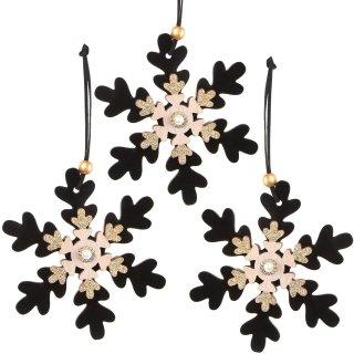 3 Schneeflocken Anhänger aus Holz mit Samt (12,5 cm) - schwarz Natur Gold