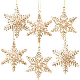 6 Schneeflocken Weihnachtsanhänger aus Metall - 8 cm Goldfarben