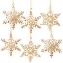6 Schneeflocken Weihnachtsanhänger aus Metall - 8 cm...