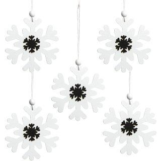 5 Schneeflocken Anhänger aus Holz - schwarz weiß zum Aufhängen