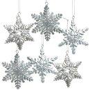 6 Schneeflocken mit Schnur zum Aufhängen - 8 cm Silberfarben aus Metall
