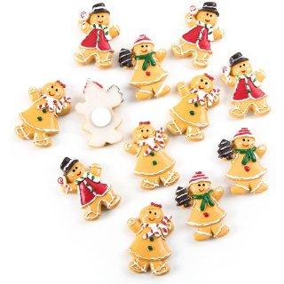 12 Mini Lebkuchen Figuren aus Kunststein - braun bunt
