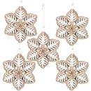 5 Schneeflocken aus Holz & Stoff zum Aufhängen - Natur weiß