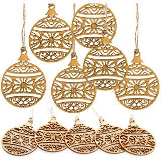 10 filigrane Weihnachtskugeln aus Holz 9 cm - Flache Holzanhänger