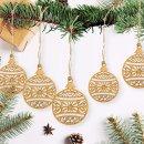 10 filigrane Weihnachtskugeln aus Holz 9 cm - Flache...
