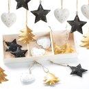 18 Weihnachtsanhänger in schwarz, Gold &...