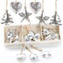 18 kleine Weihnachtsbaumanhänger aus Metall Silber...