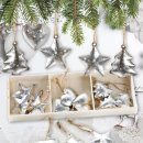 18 kleine Weihnachtsbaumanhänger aus Metall Silber glänzend