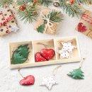 12 kleine Weihnachtsanhänger rot weiß grün - zum Aufhängen - 5 cm