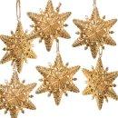 6 Schneeflocken Metall Anhänger Weihnachten Gold - 9 cm