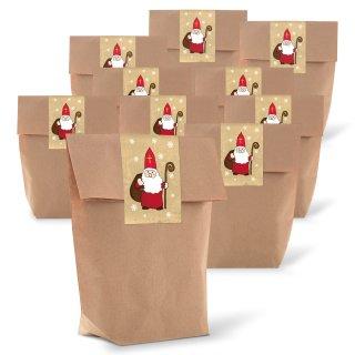 """Braune kleine Tüten mit Boden 14 x 22 x 5,6 cm + Weihnachtsbanderolen """"Nikolaus"""""""