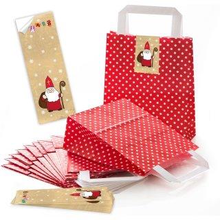 rot weiß gepunktete Weihnachtstüten mit Boden 18 x 8 x 22 cm + Aufkleber Nikolaus