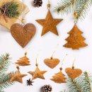 Logbuch-Verlag 9 rostbraune Weihnachtsanhänger Herz + Stern + Baum - Christbaumschmuck aus Metall Rost Patina - Vintage Weihnachtsdeko