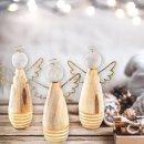 3 Engel Figuren Gold Natur weiß - Weihnachtsdeko Engelfigur Deko Weihnachten