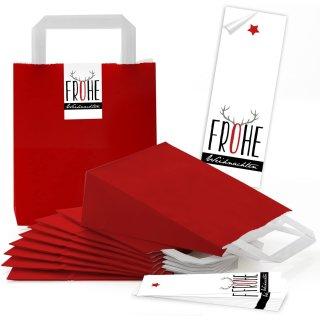 rote kleine Papiertüten Boden u. Henkel 18 x 8 x 22 cm + Banderolen 5 x 15 cm Weihnachten Hirsch-Geweih