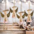 4 Engel Anhänger - natur rosa gold - aus Holz mit Herz