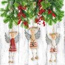 3 Engel Anhänger aus Holz - natur rot weiß mit Herz