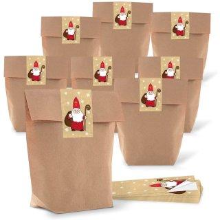 """Braune große Tüten mit Boden 16,5 x 26 x 6,6 cm + Weihnachtsbanderolen """"Nikolaus"""""""