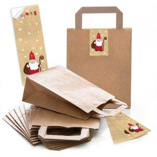 Braune Papiertüten 18 x 8 x 22 cm + Weihnachtsaufkleber mit Nikolaus rot gold