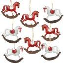 8 kleine Schaukelpferd Metallanhänger rot weiß...