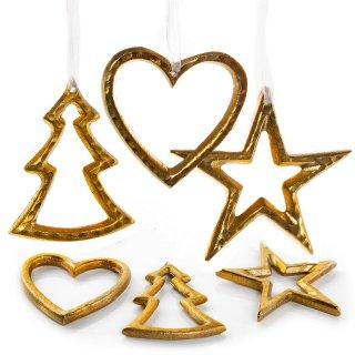 6 Weihnachtsanhänger Baum Stern Herz aus Metall gold 10 - 12 cm