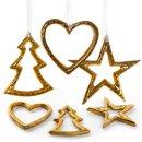 6 Weihnachtsanhänger Baum Stern Herz aus Metall gold...