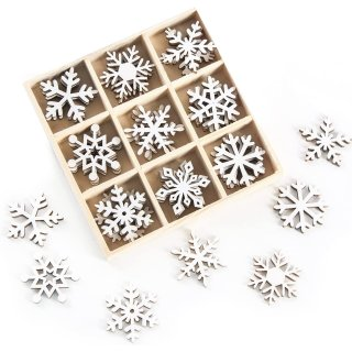 Schneeflocken Streuteile Set - 36 kleine Schneeflöckchen aus Holz