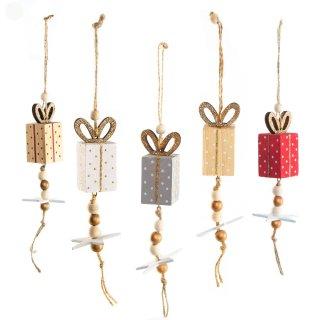 5 Geschenke Weihnachtsanhänger - 12 cm bunt aus Holz