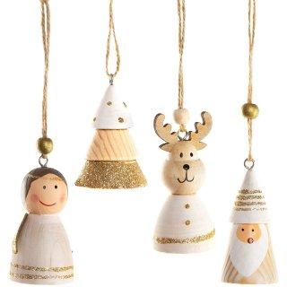 Weihnachtsanhänger Set - Engel + Baum + Rentier + Nikolaus Natur Gold weiß