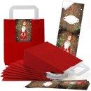 rote Geschenktüte mit Henkel Boden 18 x 8 x 22 cm +...
