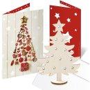 3 Weihnachtskarten rot mit Weihnachtsbaum aus Holz +...
